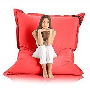 Original LAZY BAG Indoor & Outdoor Sitzsack XXL 400L Riesensitzsack Sitzkissen Sessel für Kinder & Erwachsene 180x140cm (Rot)