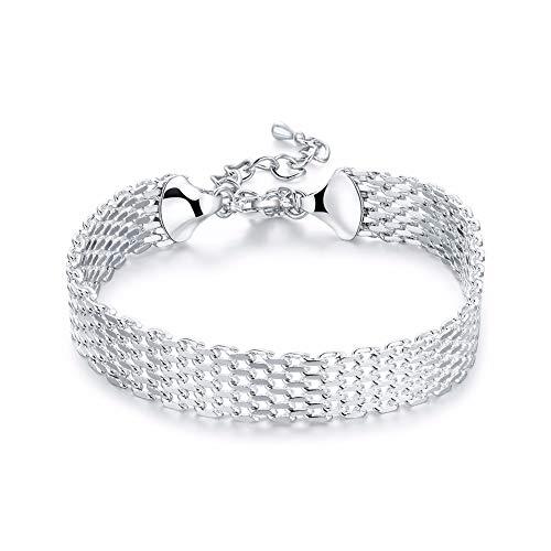 IJEWALRY Damenarmband Armbänder Armband,Mode Persönliche Breite Weiche Armband 925 Gestempelt Versilbert Modeschmuck 18 + 5 cm Sichere Ketten Armreifen Geschenkbeutel