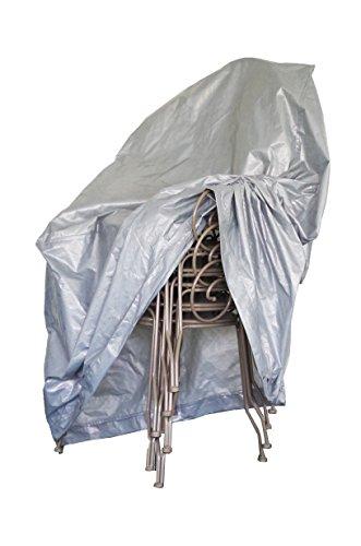 Chalet et Jardin - B67*67*109-90-S - Housse de Protection pour Pile de Chaises de Jardin - Argent