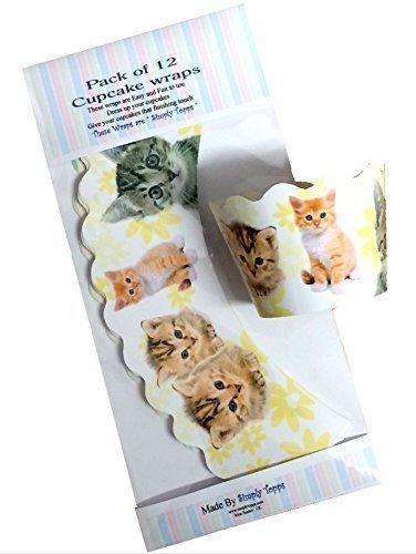 12 x Kätzchen / Katze-gestaltung Dekorative Cupcake verpackungen (Katze Dekorative)