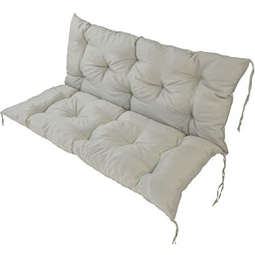 SunDeluxe Bankauflage Hollywood 120x50 cm Beige - Bequeme Polsterauflage mit Sitzkissen und Rückenkissen