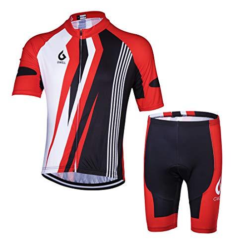GWELL Herren Radtrikot Atmungsaktive Fahrradbekleidung Set Trikot Kurzarm + Shorts mit Sitzpolster für Radsport Rot S