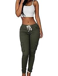 Bestgift Femme Pantalon collant ceinture à lacet sportif