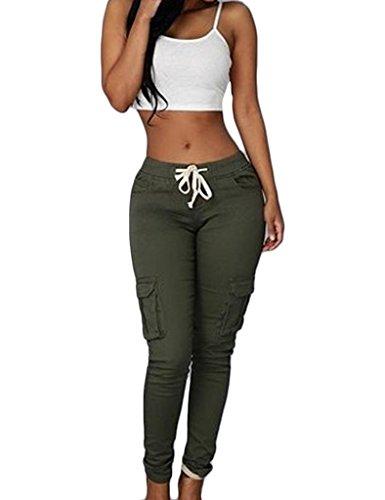 Bestgift Femme Pantalon collant ceinture à lacet sportif Vert armé