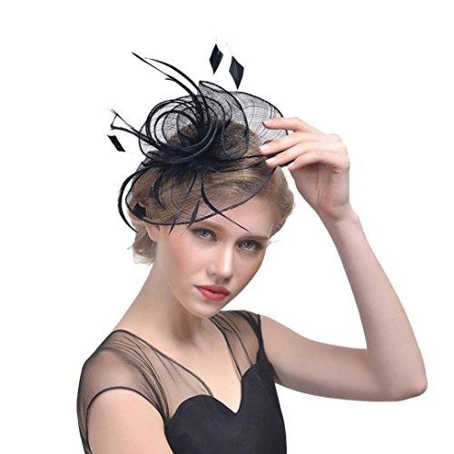 Hffan Frauen und Mädchen Tee-Party Hut Kopfbedeckung Federhut Hochzeit Zubehör Blumenschleier Haarspange Blume Mesh Bänder Gefieder Stirnband Haarclip Hairpin Haarband (Schwarz, 1 pc)