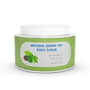 The Moms Co. Natural Green Tea Body Scrub I Gentle Exfoliation & Detox l With Apricot seed, Black Sand and Vitamin C (100 gm)