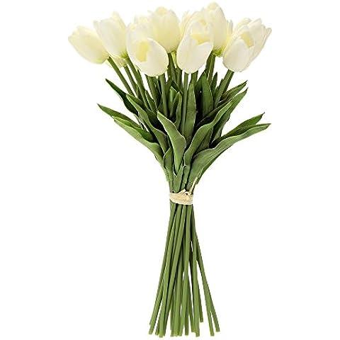 Tulipanes artificiales,Anself 20pcs/Ramo de flores decorativos de simulación hermosa para la decoración de la boda fiesta hogar