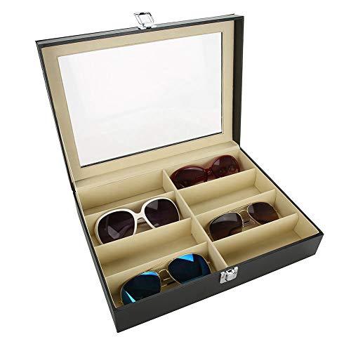 Brillen-Aufbewahrungskoffer, 8-Slot PU-Leder Brillen Sonnenbrillen Display Box Eyewear Spectacles Organizer speichern