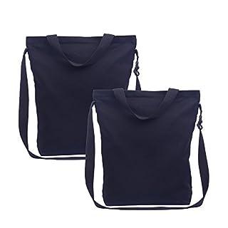 Augbunny Women's Durable 12oz 100% Cotton Canvas Zipper Messenger Shoulder Grocery Tote Bag Handbag Adjustable Handle With Inside Pocket 2-pack