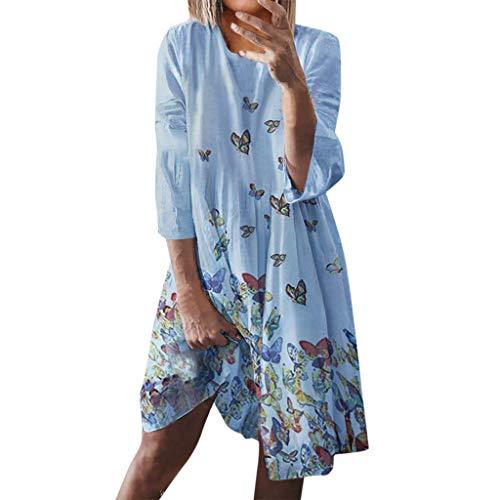 Floweworld Damen Lose Kleider Sommer 3/4 ÄRmel Rundhalsausschnitt Minikleider Urlaub Print Casual Plus Size Kleider (Weißen Plus Kleid Size Slip)