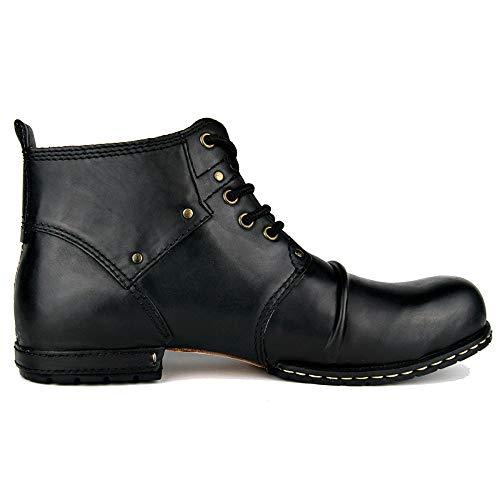 MERRYHE Stivaletti da Uomo in Vera Pelle con Lacci Vintage Taglie Forti Martin Boot Stivali Militari Tattici Desertici,Black-US9.5/EU43