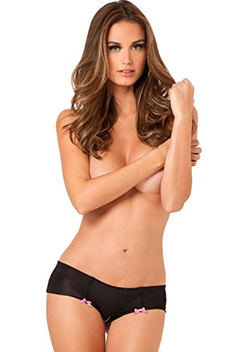 Rene Rofe Women's Hot Dots Crotchless Boyshort, Black, Small/Medium (Boyshort Hot)