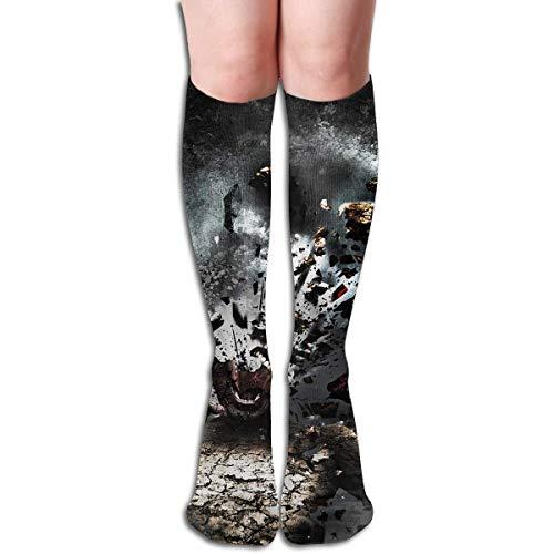 Kostüm Weird Einfach - CVDFVFGB Compression Socks Weird Black Fire High Boots Stockings Long Hose for Yoga Walking for Women Man