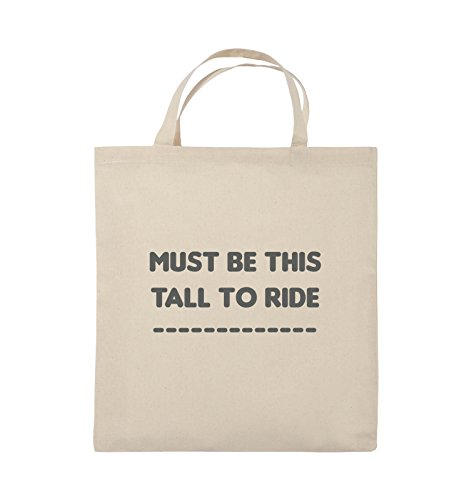 Comedy Bags - MUST BE THIS TALL TO RIDE - Jutebeutel - kurze Henkel - 38x42cm - Farbe: Schwarz / Pink Natural / Grau