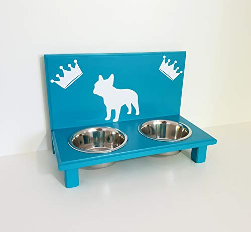 Jennys Tiershop Futterbar. Gestalten mit Wunschnamen und Deko. Futterbar für Französische Bulldogge. Hundenapf. Futterbar Hunde in türkis 2 x 750 ml Hundebar (704)