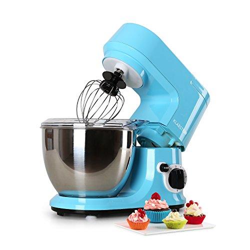 Klarstein Carina Azzura - Robot de cuisine, mélangeur, Pétrin, 800 W, 4 litres, Sytème mélangeur planétaire, 6 vitesses, Bol en acier inoxydable, Protection anti-éclaboussures, bleu