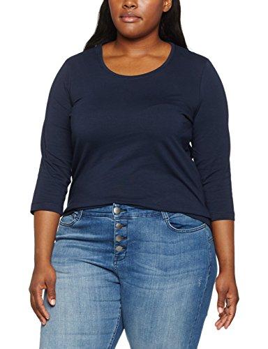 Gina Laura Große Größen Damen Sweatshirt T-Shirt, Basic, 3/4 Arm Blau (Dunkelblau 70), X-Large (Mit Weißem Armee T-shirt Frau)