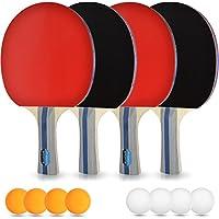 PHIBER-SPORTS Tischtennis-Set – 4 Premium Tischtennisschlaeger + 8 Tischtennis-Bälle + Aufbewahrungstasche + GRATIS EBOOK - Ideal für Anfänger, Familien und Profis, 14-Teilig