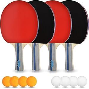 PHIBER-SPORTS Tischtennis-Set – 4 Premium Tischtennisschlaeger + 8 Tischtennis-Bälle + Aufbewahrungstasche + GRATIS EBOOK – Ideal für Anfänger, Familien und Profis, 14-Teilig