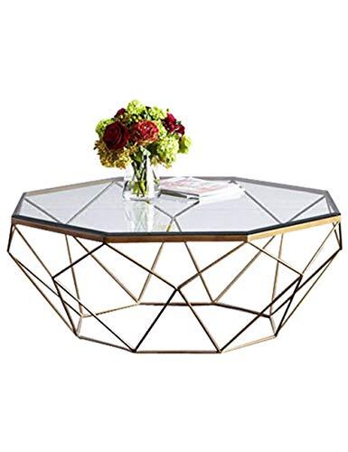 Table à thé Salon Table en Verre trempé Personnalité en Fer forgé Mode Créatif Petit Appartement Art Moderne et Simple, Couleur Transparente (57 × 57 × 45 cm)