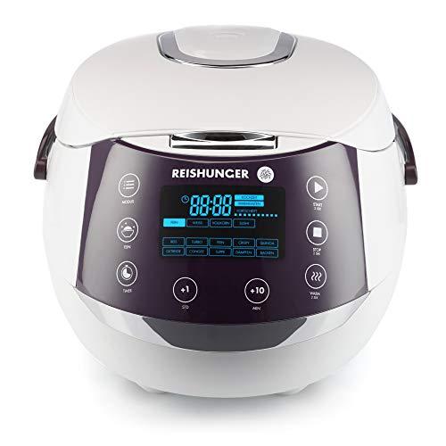 Reishunger Digitaler Reiskocher (1,5l/860W/220V) Multikocher mit 12 Programmen, 7-Phasen-Technologie, Premium-Innentopf, Timer- und Warmhaltefunktion - Reis für bis zu 8 Personen - Asiatische Kunststoff Löffel