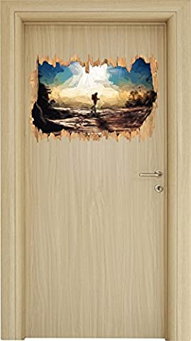 Wintersport Pinsel Effekt Holzdurchbruch im 3D-Look , Wand- oder Türaufkleber Format: 62x42cm, Wandsticker, Wandtattoo, Wanddekoration