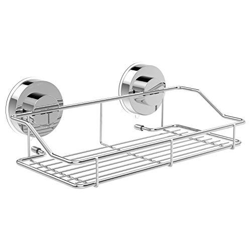 Luxspire Bathroom Storage Basket, Wall Mounted Bathroom Ware Stand Shelf Bath Organizer Kitchen Storage Basket with Suction Cup - Silver -