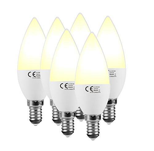 lampaous® E14LED Kerze Glühbirne, 7Watt 3000K Warm-Weiß LED Leuchtmittel Lichter, 560Lumen 70Watt entspricht Halogen E14, kleine Edison-Schraube, SES E14Glühbirne, nicht dimmbar 6Stück Einheiten (6-licht Halogen-anhänger)