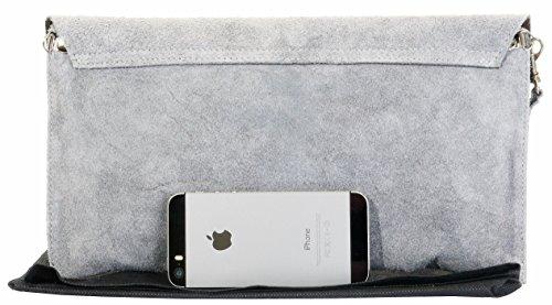 Pochette Design Italiano camoscio in busta, polso, spalla o borsa a tracolla.Include una custodia protettiva marca Grigio chiaro
