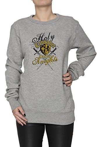 Holy Crusader Donna Grigio Felpa Felpe Maglione Pullover Grey Women's Sweatshirt Pullover Jumper