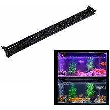 WOODGA Luz LED Acuario Tanque de Peces con Soportes Extensibles, Color LEDs Azul y Blanco, Longitud 94cm