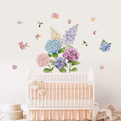 Decalmile adesivi murali fiori ortensia adesivi da parete farfalla decorazione murale camera da letto soggiorno casa