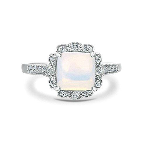 Bishilin Frauen Ring Silber 925 Silberring 4-Steg-Krappenfassung Blumen mit Opal Verlobung Ringe Ehering Damenringe Silber Größe 52 (16.6)