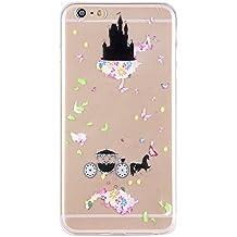 Funda para iPhone 5 5S SE, Case Cover para iPhone 5 5S SE, ISAKEN Transparente Ultra Slim Carcasa de Silicona TPU con Diseño Resistente a Arañazos Trasera Bumper Protección Case Cover Funda Cáscara para Apple iPhone 5 5S SE (Carro Castillo)