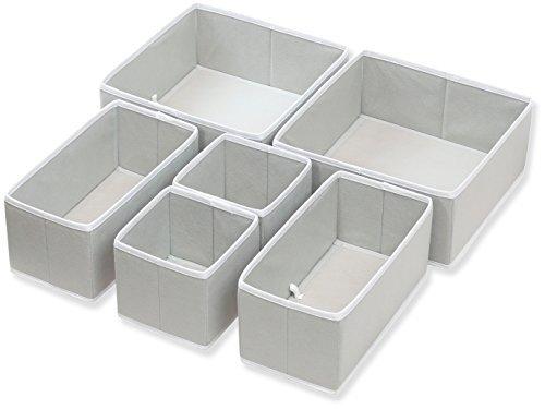 6 Set , Gray : SimpleHouseware Foldable Cloth Storage Box Closet Dresser Drawer Divider Organizer Basket Bins for Underwear Bras, Gray (Set of 6)