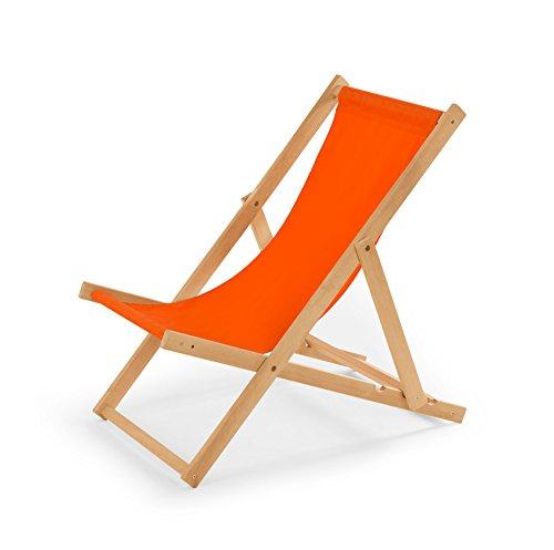 IMPWOOD Chaise longue de jardin en bois, fauteuil de relaxation, chaise de plage Orange