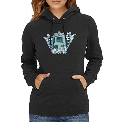 NERDO - Retro Gamer Logo - Damen Kapuzenpullover, Größe L, schwarz