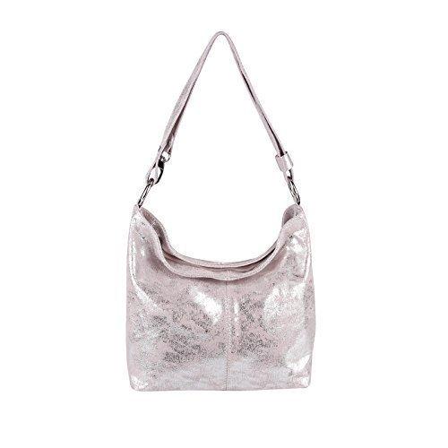 Print Hobo Bag Handtasche (Echt Leder Metallic Damen Tasche Shopper Hobo-Bags Schultertasche Umhängetasche Handtasche Henkeltasche Silber (Rosa-Silber))
