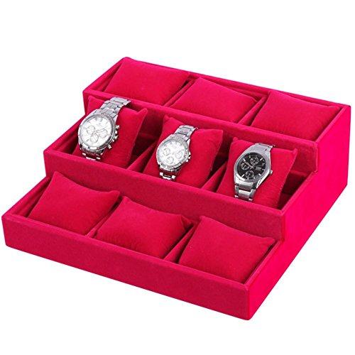 9 Lattice Ladder hochwertigen Flanell Uhrenbox Armband Display-Ständer Uhr Display Armband Display-Ständer Uhr Display-Box , rose red Rose Lattice