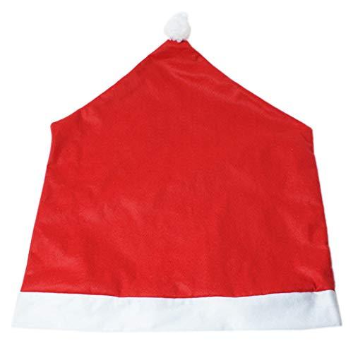 1 Stück Weihnachten Weihnachtsmann Kappe Stuhl Sitzbezug Red Hat Pompom Ball Esszimmer Schutzhülle Klassische Geschenk Festival Party Dekoration -