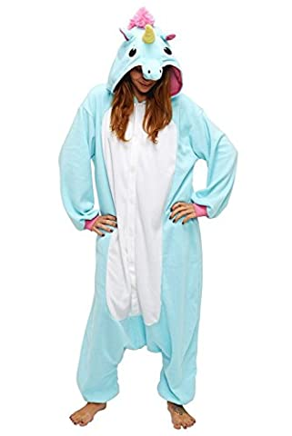 Deguisement Combinaison Pijama - Chicone Licorne Pyjama Adulte Enfant Unisexe Animaux Cosplay Costume Kigurumi Halloween Noel Party Soirée de Déguisement, Bleu, S (Height