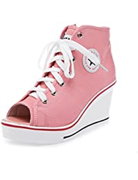 275ac58c9dce73 mogeek Damen Sneaker mit Keilabsatz Peep Toe Wedges Schuhe Canvas High Top  Textil Schuhe