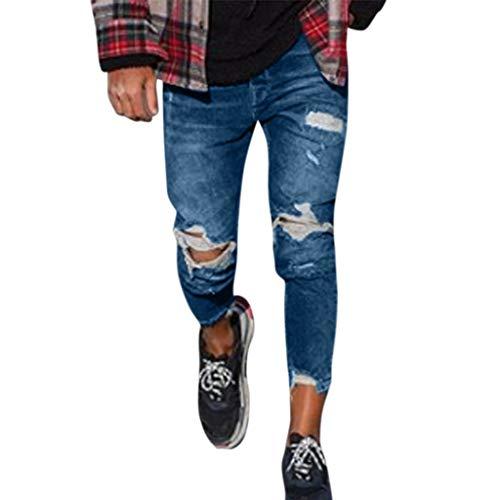Qinmm jeans uomo jeans uomo strappato jeans uomo stretti alla caviglia jeans skinny uomo ginocchia aperte pantaloni jeans uomo elasticizzati vintage hip hop streetwear pantaloni jeans moto uomo