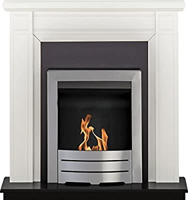 Adam Georgian Fireplace Suite in Pure White with Colorado Bio Ethanol Fire in Brushed Steel, 39 Inch