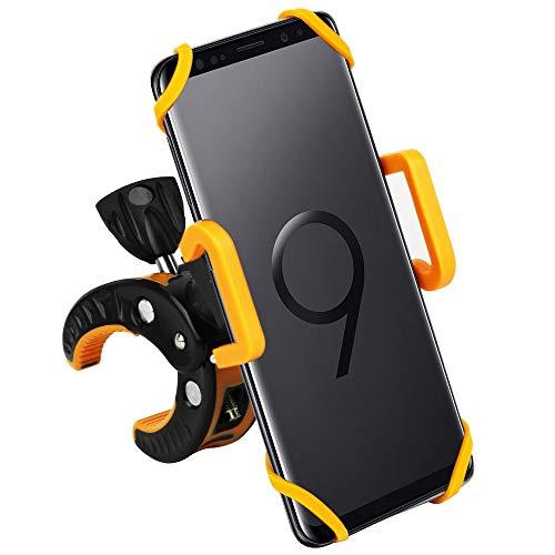 CLM-Tech Fahrrad Handyhalterung, Handy Halterung für Smartphones Motorrad Halterung Handy-Halter Fahrradhalterung mit Klammer, schwarz gelb