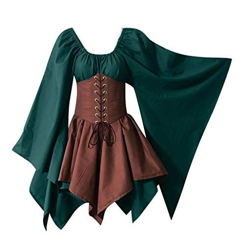 Suitray Damen Kleid Mode Halloween Mittelalterliches Cosplay Kostüm gotisch Langarm V-Ausschnitt Mini Kleid Halloween Partykleid Freizeit Kleid Fraun Abendkleid Halloween Kostüm (2019 Besten Halloween-kostüm)