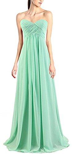 Brinny Damen Abendkleider Lange Herzform Chiffon Prom Dress A-Linie Brautjungfernkleider ballkleid Lang in Mehreren Farben Hellgrün
