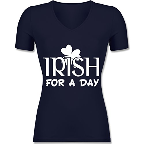 St. Patricks Day - Irish For A Day St Patricks Day - Tailliertes T-Shirt mit V-Ausschnitt für Frauen Dunkelblau