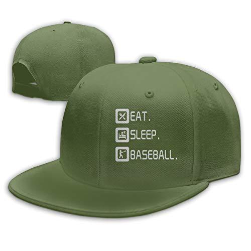 Abigails Home Essen Sie Schlaf Baseball-2 justierbares Baseballmütze-Hip-Hop-Hut-Mann-Sport-kühles Mode-Moosgrün (Womens Waterproof Winter Hüte)