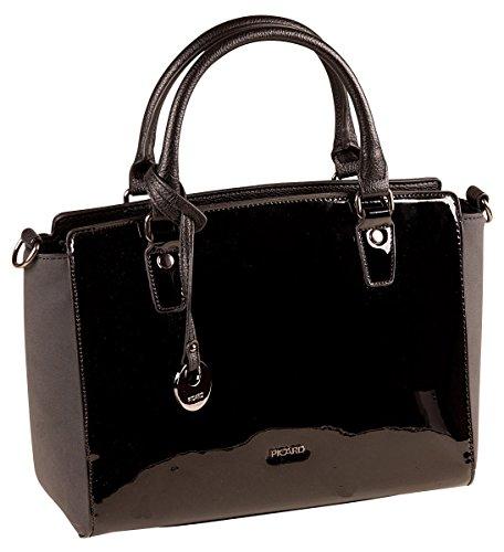 PICARD Lodge 2284 Tasche Damen Henkeltasche Handtasche 28x21x11 cm (BxHxT), (Schwarze Lack Handtasche)